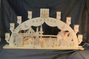 Kreative Holzbearbeitung - Schwibbogen mit dem Thema Hamburg - Motive aus der Stadt Hamburg