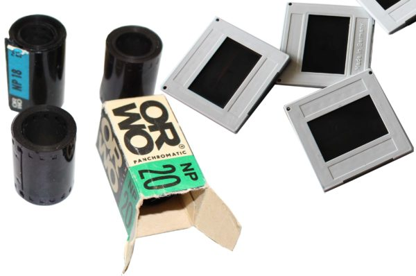 Dias Digitalisieren- Bilder von verschiedenen alten Filmmaterialien (Dias, Filmrolle)