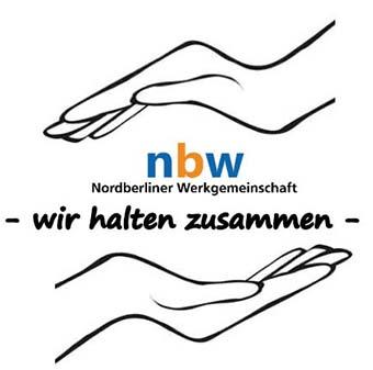 Wir halten zusammen - nbw Logo mit Händen